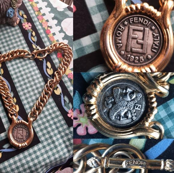 Fendi Janus head necklace 1980s vintage golden and silver